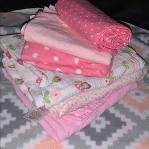 Infant baby girls 6 blanket bundle